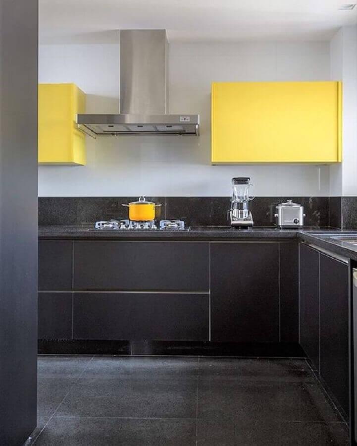 cozinha planejada amarela e cinza Foto Pinterest