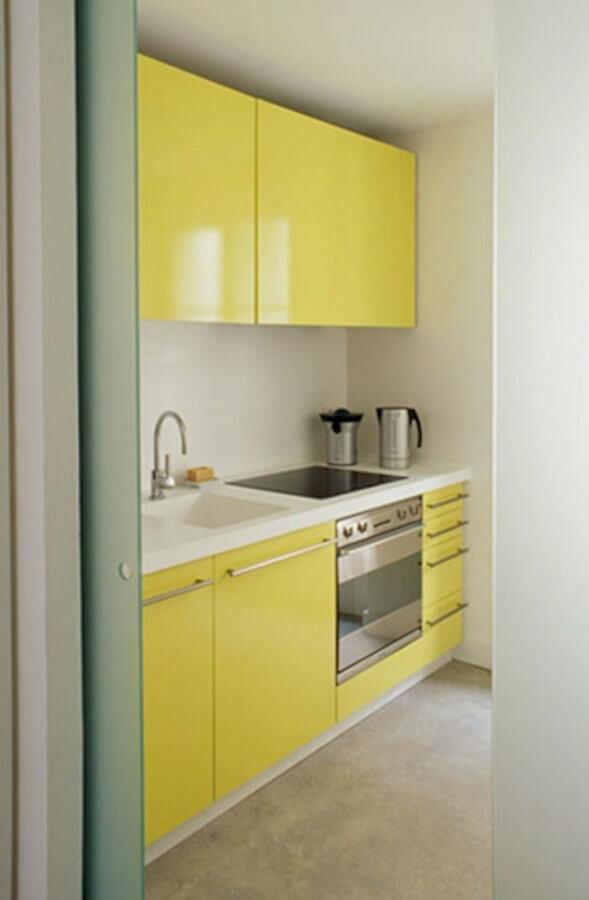 cozinha planejada amarela pequena Foto Marko Mobilya
