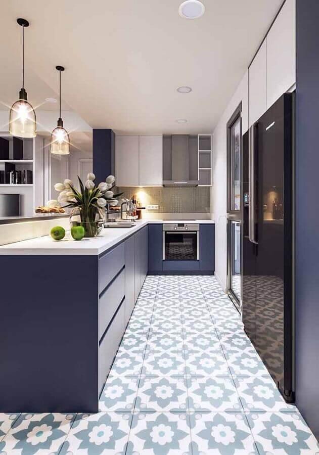 cozinha planejada na cor azul marinho Foto Pinterest
