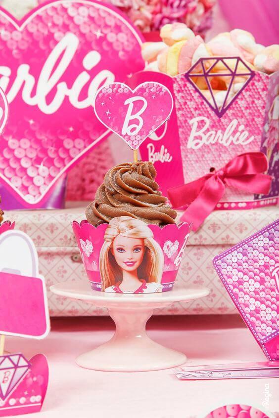 Cupcake para festa da barbie