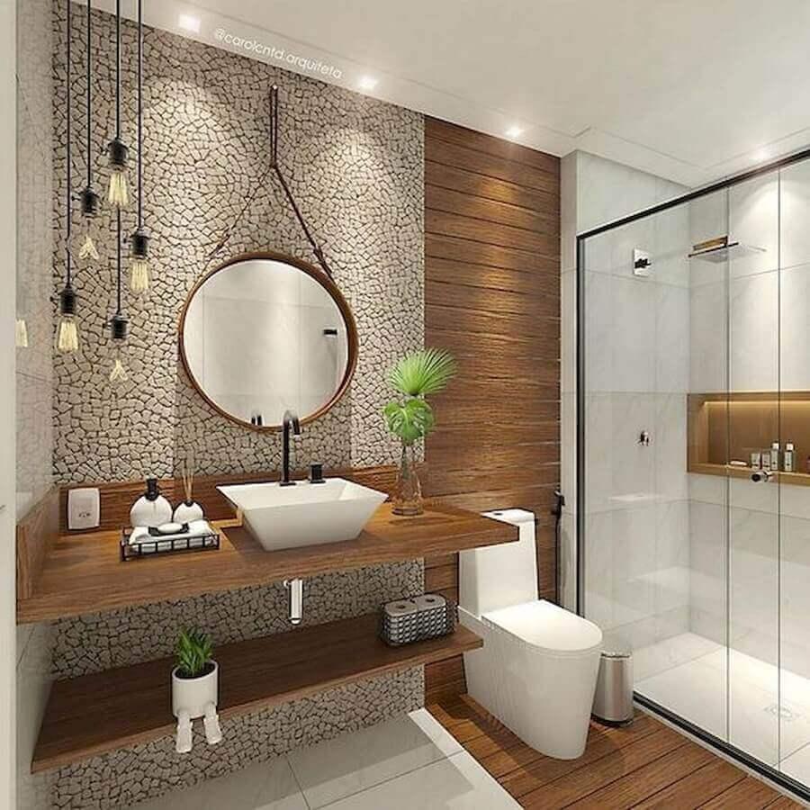 decoração banheiro feminino com bancada de madeira e espelho redondo Foto Pinterest