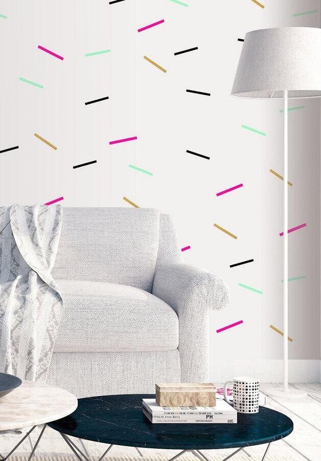 decoração com fita isolante colorida para sala com estilo minimalista Foto Revista Artesanato