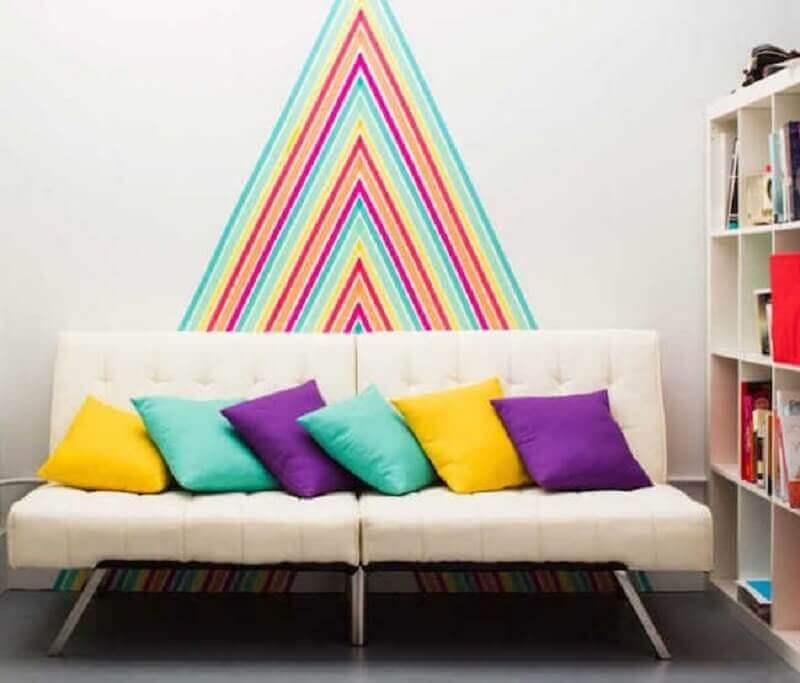 decoração com fita isolante colorida para sala de estar Foto HomeMania