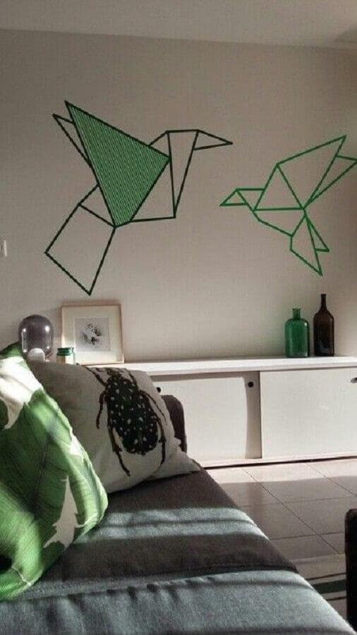 decoração com fita isolante para sala de estar Foto Hasshe