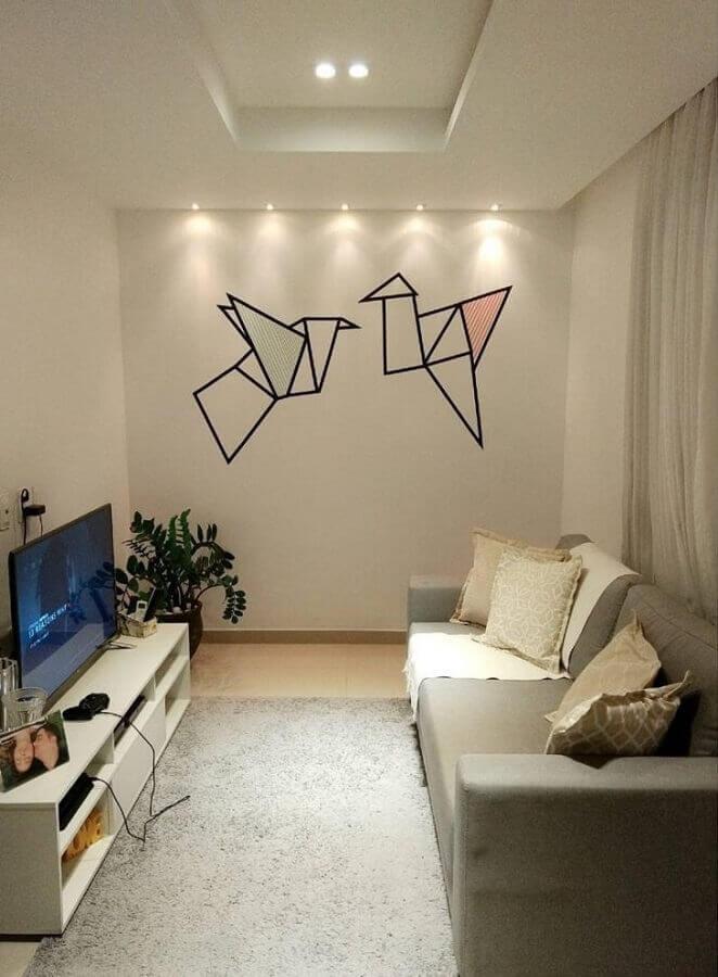 decoração com fita isolante para sala minimalista Foto Rosaline C. Albuquerque Tojal