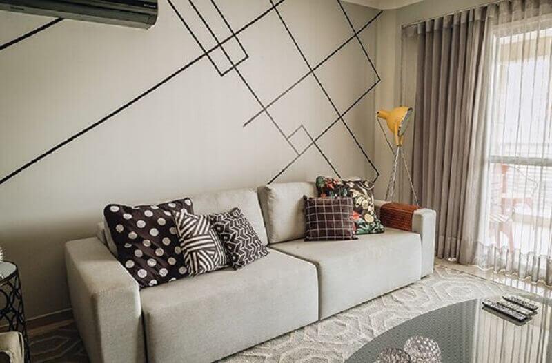 decoração com fita isolante preta para sala de estar cinza Foto Casa e Festa