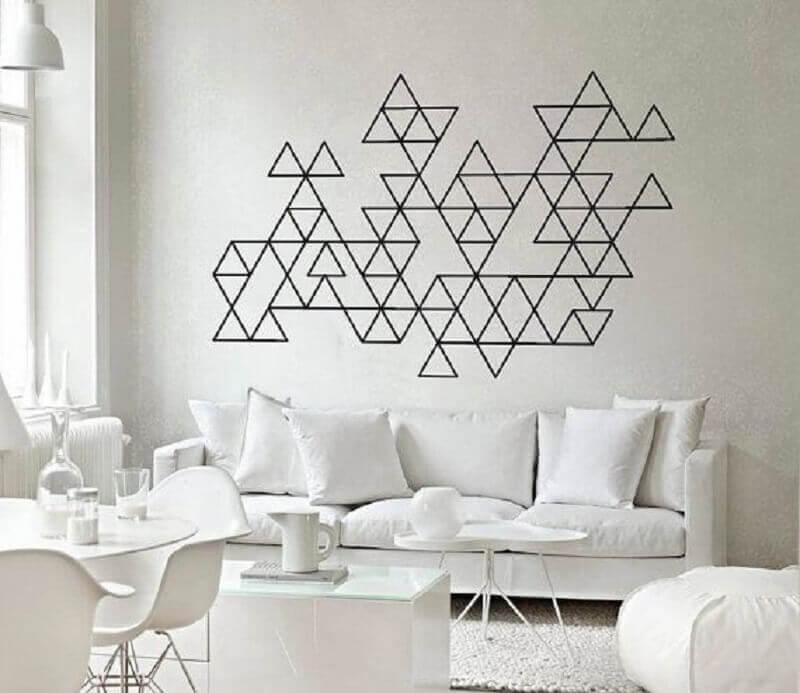 decoração com fita isolante preta para sala toda branca Foto Pinterest