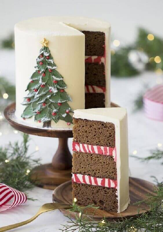 Christmas cake decoration with pine tree on the side Photo We Heart It