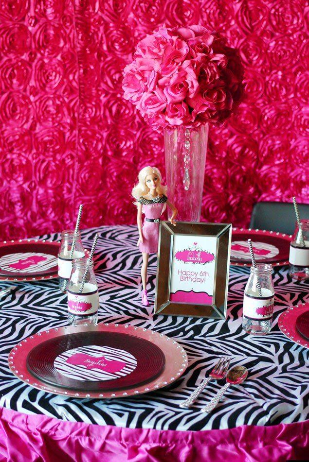 Decoração de festa da barbie fashionista