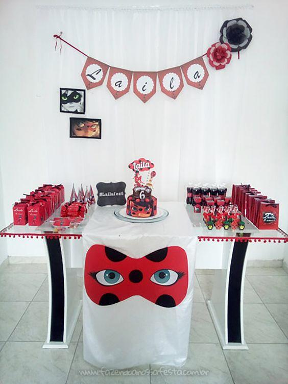 Decoração de festa ladybug simples e linda