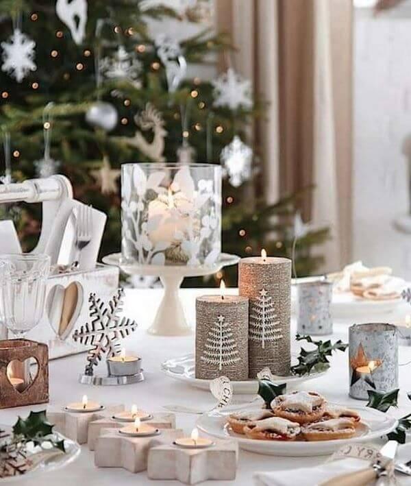 Decoração de natal para sala com velas