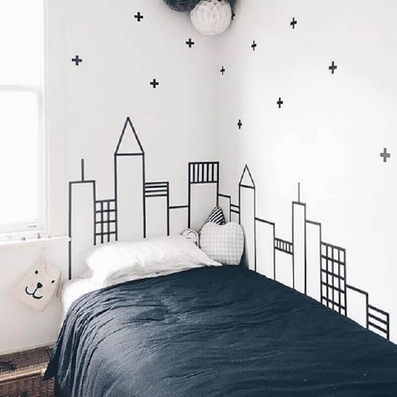 decoração de quarto infantil com fita isolante Foto Pinosy