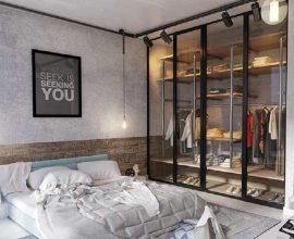 decoração industrial para quarto com closet de vidro  Foto Vidral Distribuidora