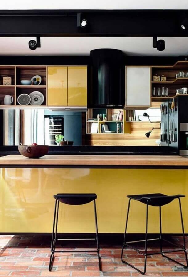 decoração moderna para cozinha amarela e preta com ilha Foto Ideias Decor