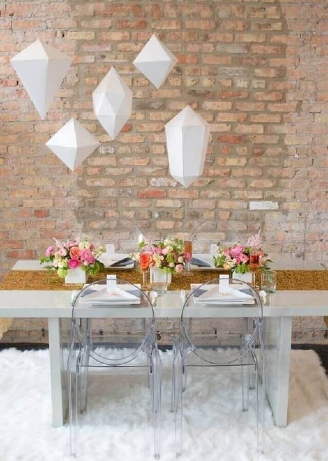 decoração moderna para mini wedding em casa Foto Dulce Debut