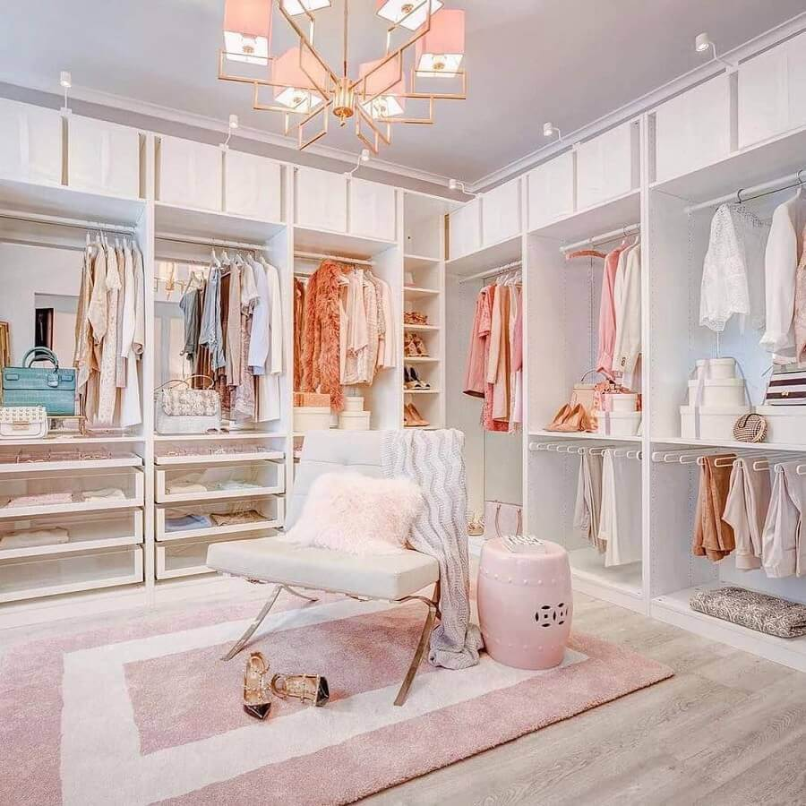 decoração para closet feminino de luxo Foto Wood Save