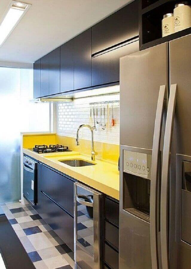 decoração para cozinha amarela e preta compacta Foto Simples Decoração