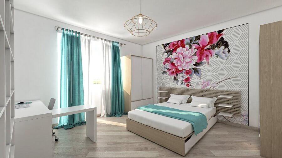 decoração para quarto de casal simples com papel de parede floral