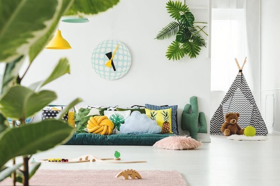 decoração para sala verde e branca