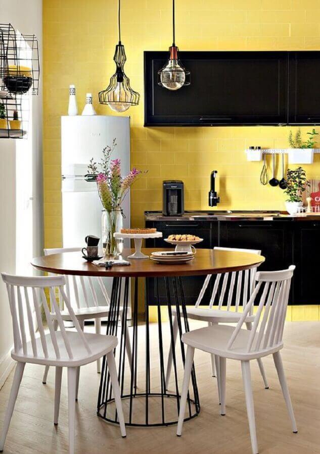 decoração simples para cozinha amarela e preta Foto Decoração e Projetos