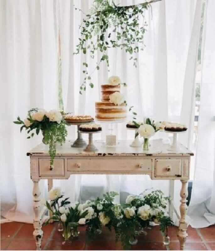 decoração simples para mesa de mini wedding Foto Pinterest