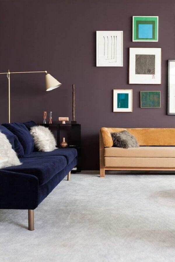 decoração simples para sala com sofá azul marinho Foto Original Home