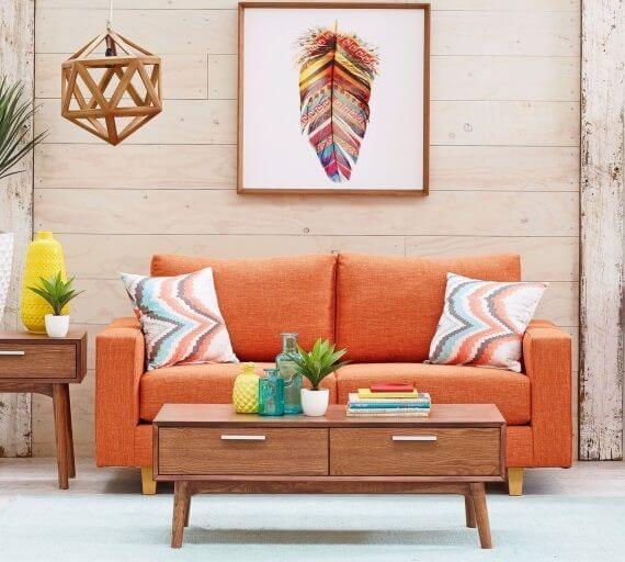 sofá cama colorido