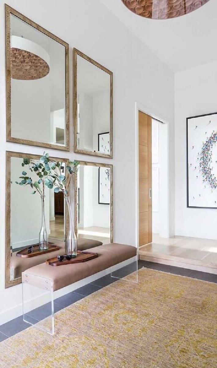 espelhos decorativos com moldura para decoração de hall de entrada Foto Pinterest
