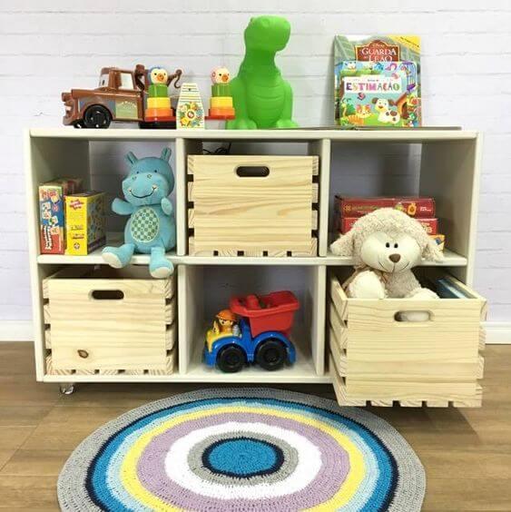 Estante para brinquedos mdf com caixas organizadoras em Mdf