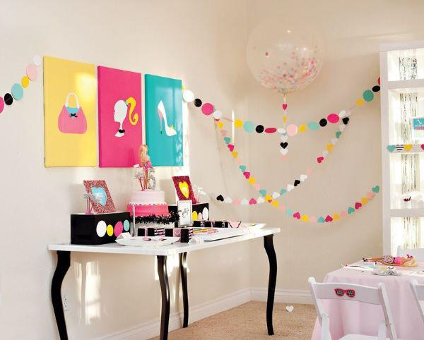 Decoração de festa da barbie colorida