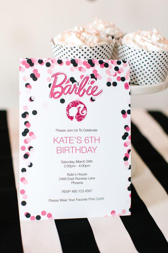 Festa da barbie convite personalizado