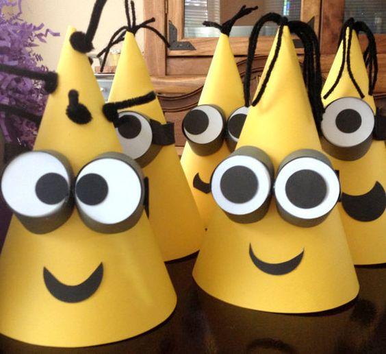 festa dos minions - chapéus para festa dos minions simples
