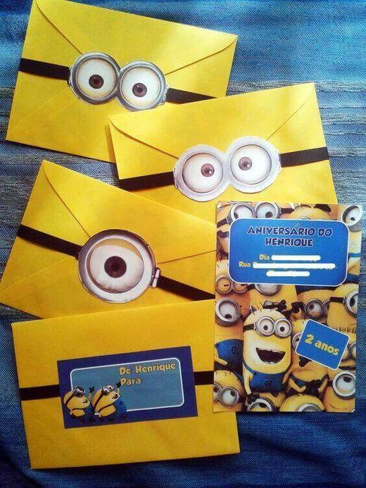 festa dos minions - convites dos minions com envelope