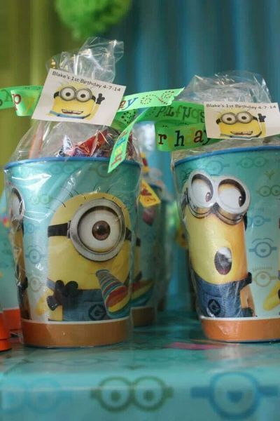 festa dos minions - copo de brindes dos minions