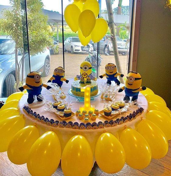 festa dos minions - mesa circular decorada dos minions