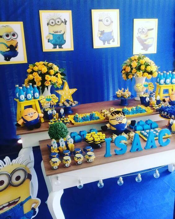 festa dos minions - mesa completa de doces