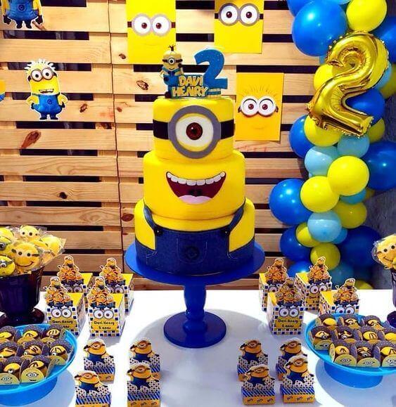 festa dos minions - mesa de festa infantil completa