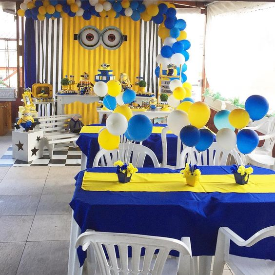 festa dos minions - mesas de festa dos minions