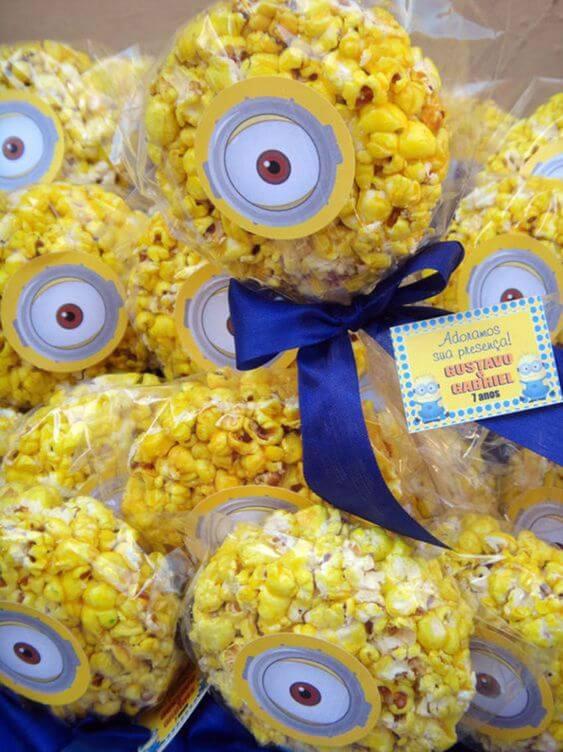 festa dos minions - pipoca decorada em embalagem