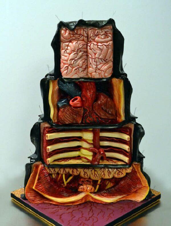 Bolo para Halloween simula partes do corpo