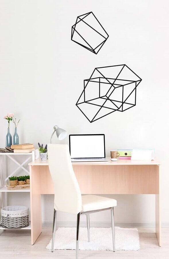 home office simples decorado com fita isolante preta Foto Pinterest