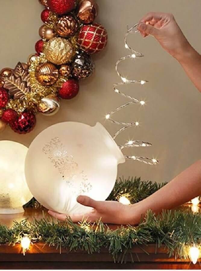 ideias de enfeites de Natal com luzes Foto Pinterest