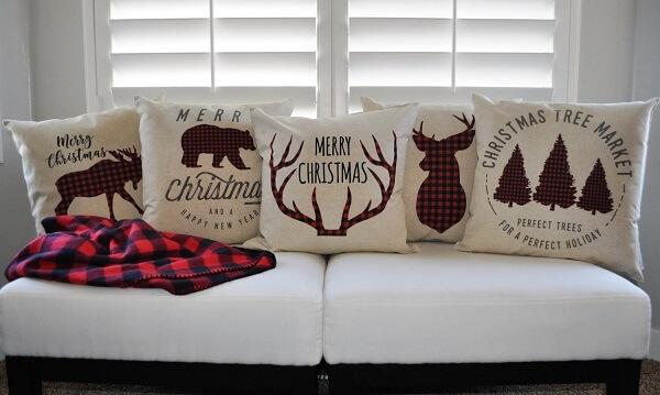 Conjunto de almofadas de Natal com estampas e frases