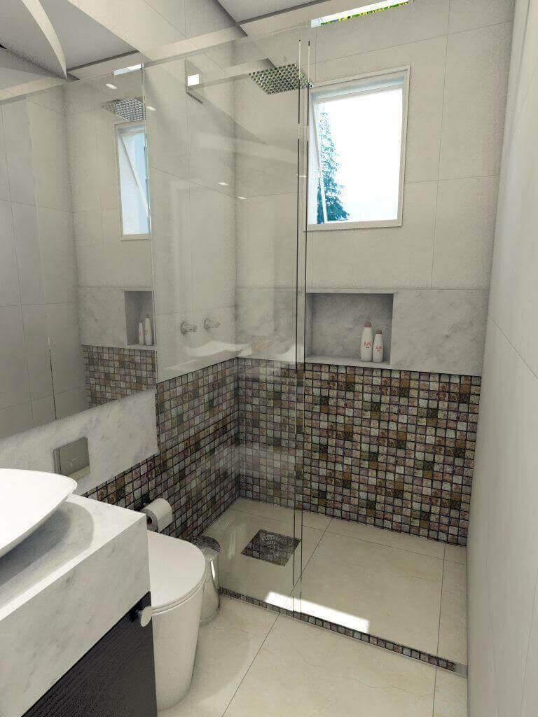 janela para banheiro - banheiro com divisória de pastilhas marrons