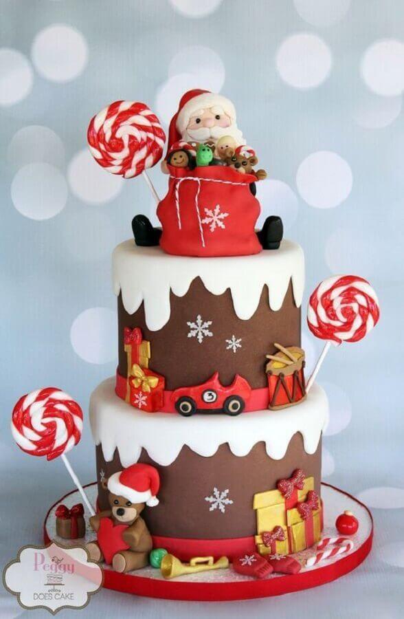 lindo bolo de natal decorado com pasta americana infantil Foto Peggy Does Cake