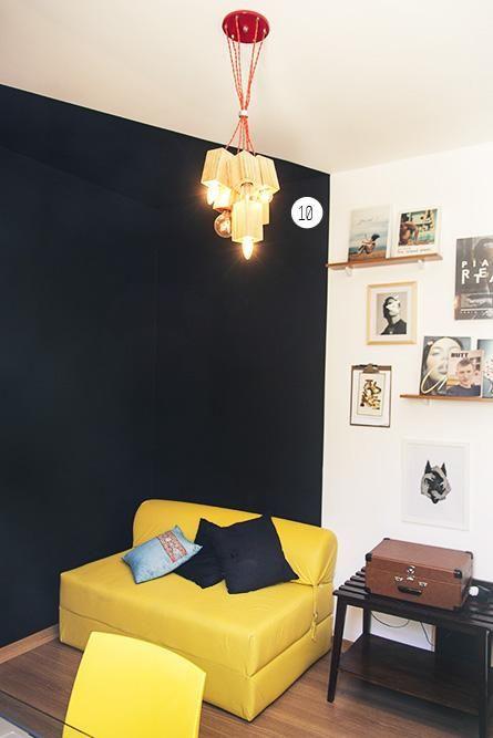 lustres simples - home office com sofá colorido e lustre