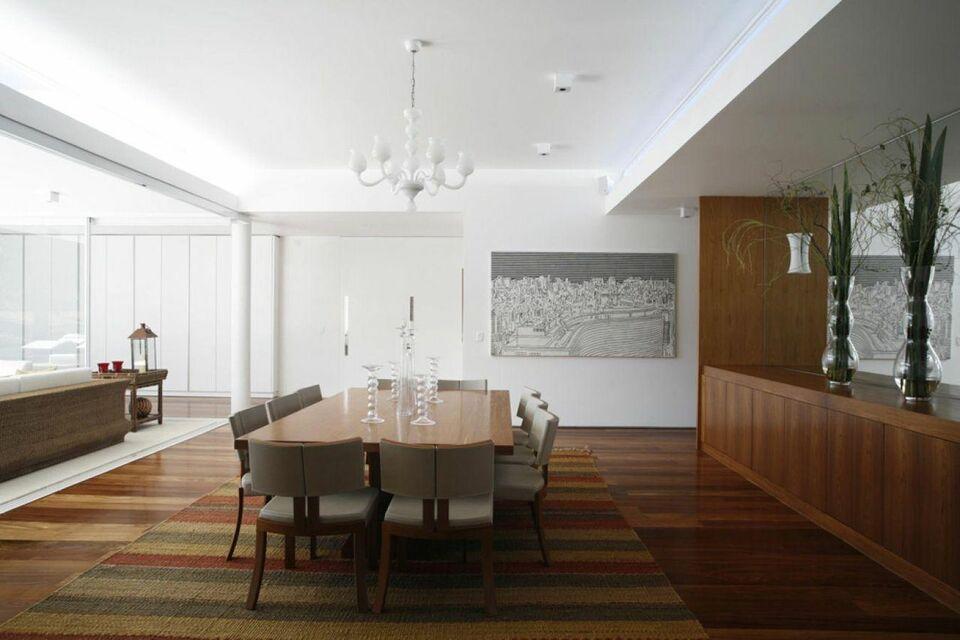 lustres simples - sala de jantar com lustre branco