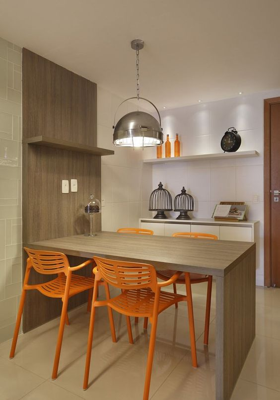lustres simples - sala de jatar com lustre moderno simples