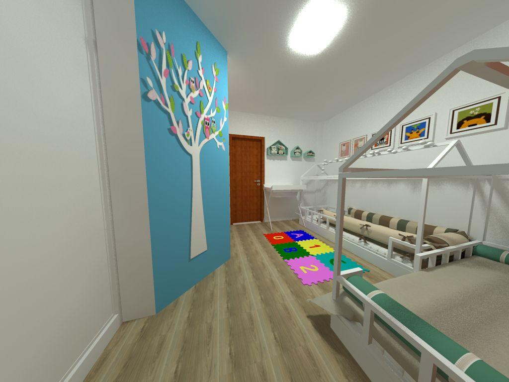 móveis montessorianos - quarto infantil com adesivo na parede