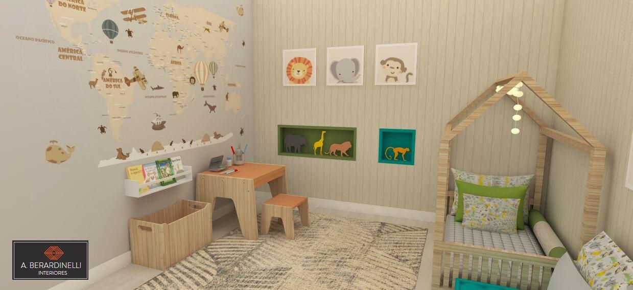 móveis montessorianos - quarto infantil safari com cama de casinha